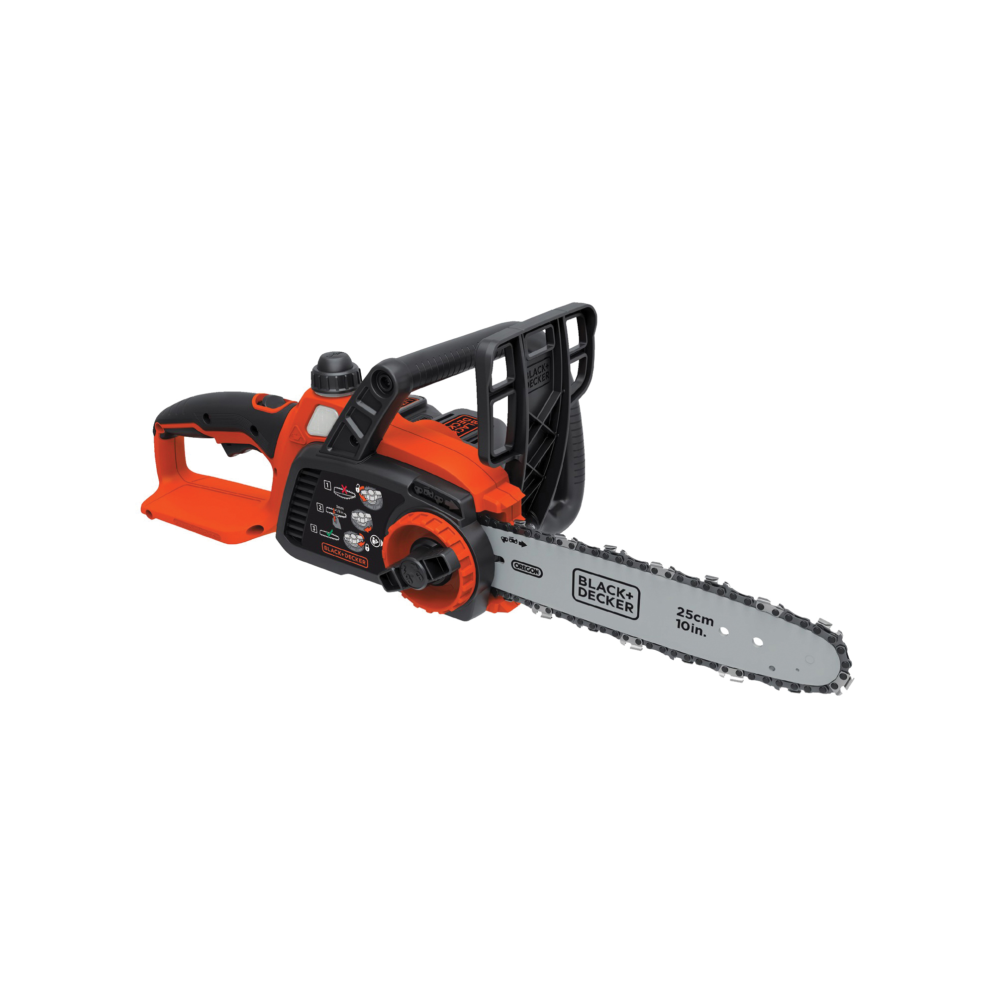 Picture of Black+Decker LCS1020 Chainsaw, 2 Ah, 20 V Battery, Lithium-Ion Battery, 10 in Cutting Capacity, 10 in L Bar/Chain