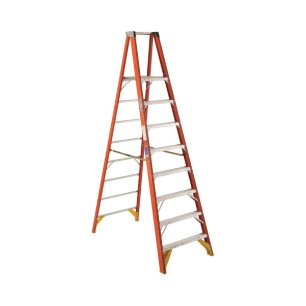 Picture of WERNER P6208 Platform Ladder, 7 ft 8 in Max Standing H, 300 lb, Type IA Duty Rating, 8-Rung, 3 in D Step