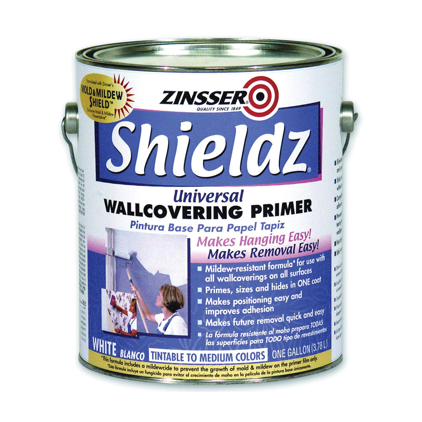 Picture of ZINSSER 02501 Universal Wallcovering Primer, White, 1 gal, Pail, Liquid