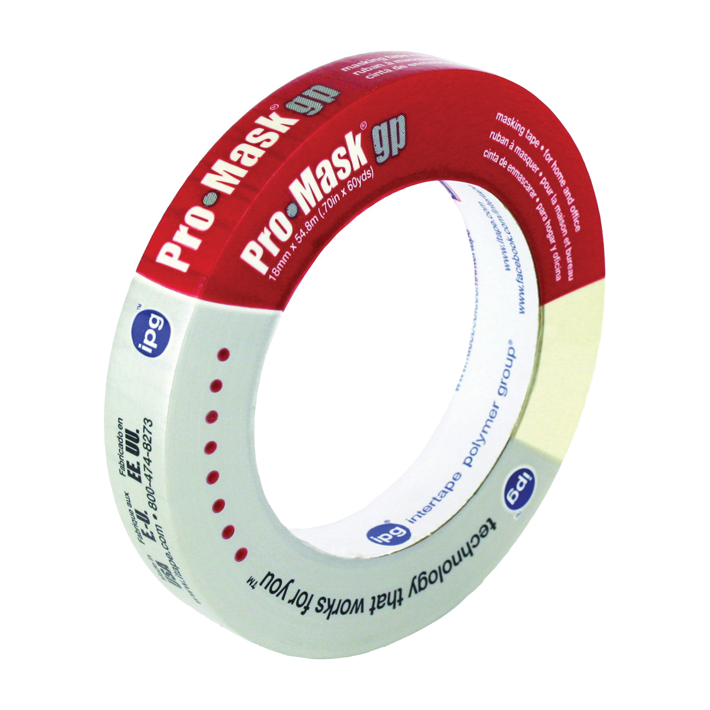Picture of IPG 5100-.75 Masking Tape, 60 yd L, 0.7 in W, Smooth Crepe Paper Backing, Beige