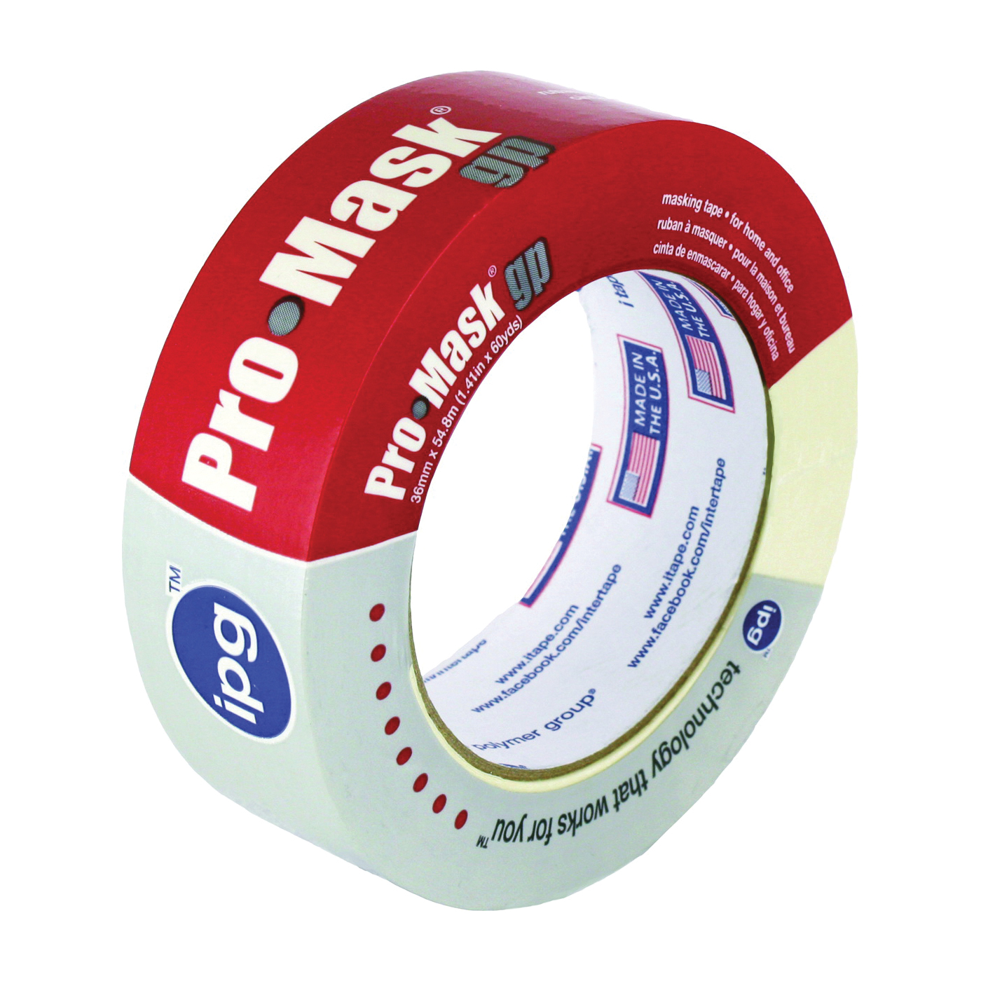 Picture of IPG 5102-1.5 Masking Tape, 60 yd L, 1-1/2 in W, Smooth Crepe Paper Backing, Beige
