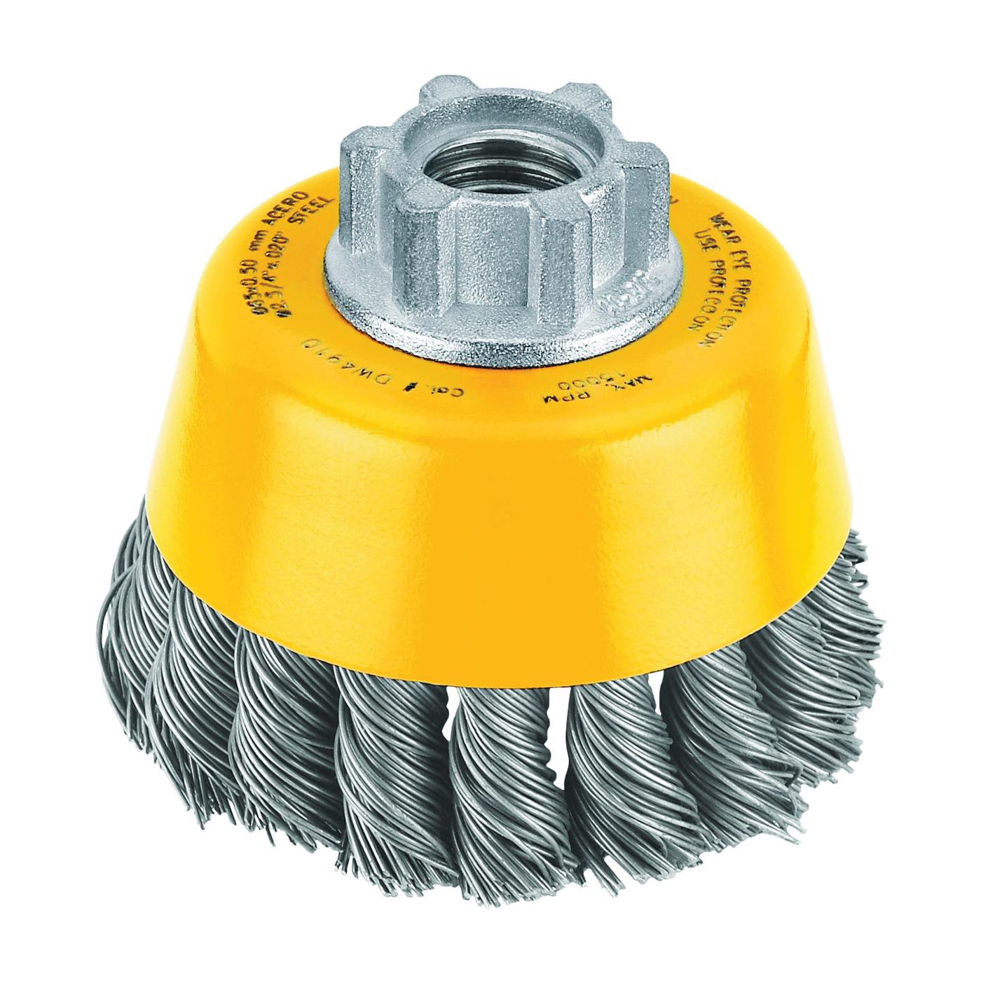 Picture of DeWALT DW4910 Wire Cup Brush, 3 in Dia, 5/8-11 Arbor/Shank, 0.02 in Dia Bristle