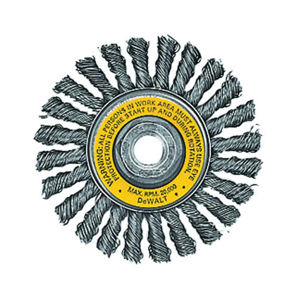 Picture of DeWALT DW4930 Wire Wheel Brush, 4 in Dia, 5/8-11 Arbor/Shank, 0.02 in Dia Bristle