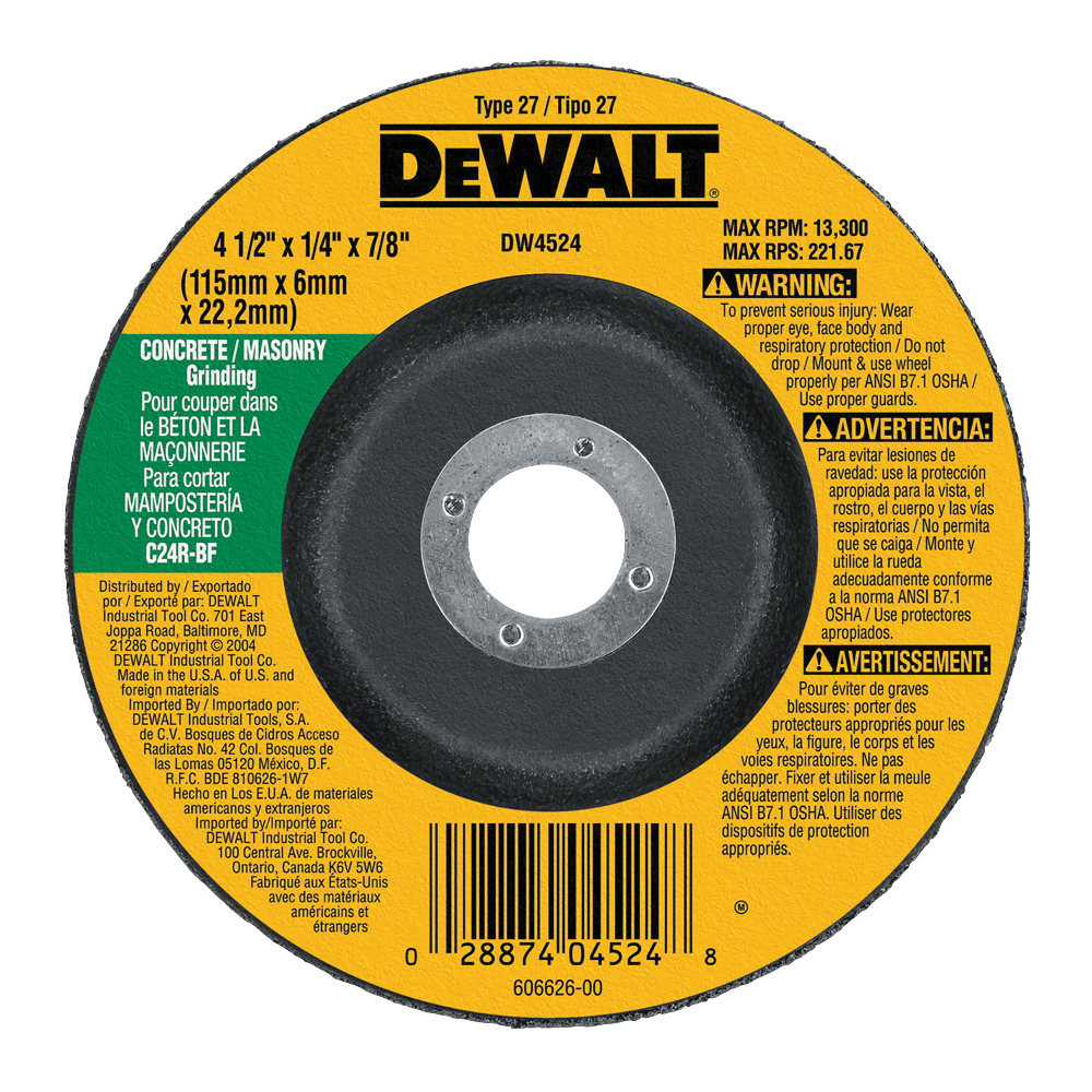 Picture of DeWALT DW4524 Grinding Wheel, 4-1/2 in Dia, 1/4 in Thick, 7/8 in Arbor, 24 Grit, Silicone Carbide Abrasive