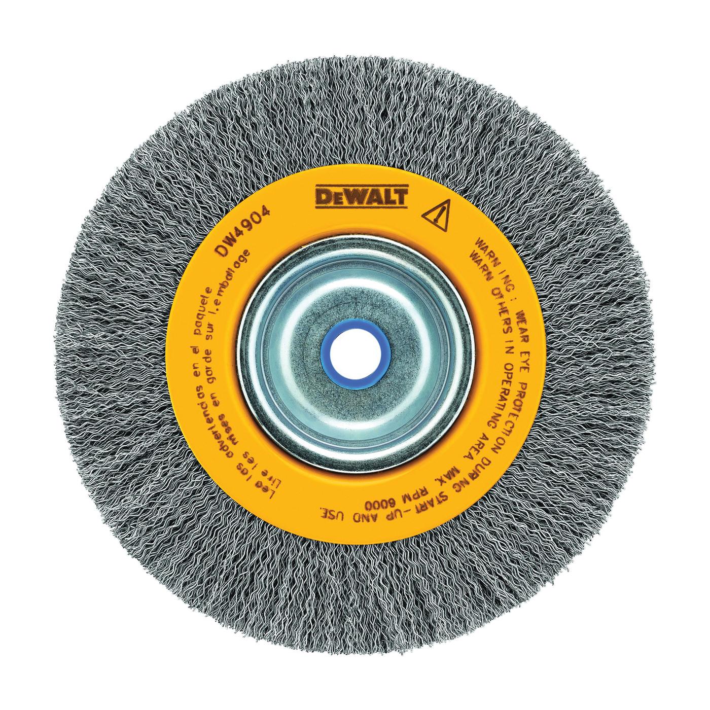 Picture of DeWALT DW4904 Wire Wheel Brush, 6 in Dia, 5/8 to 1/2 in Arbor/Shank, 0.014 in Dia Bristle