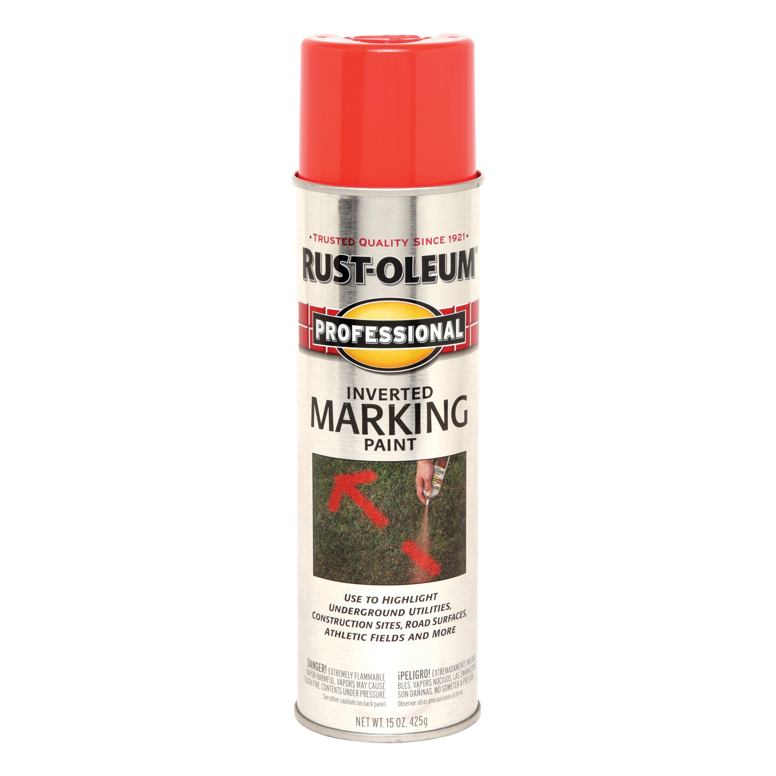 Picture of RUST-OLEUM PROFESSIONAL 2558838 Marking Spray Paint, Flat to Semi-Gloss Finish, Fluorescent Red/Orange, 15 oz