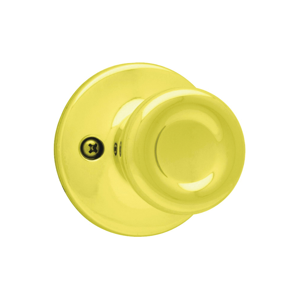 Picture of Kwikset 488T 3 Dummy Door Knob, 1-7/8 in Dia Knob, Polished Brass