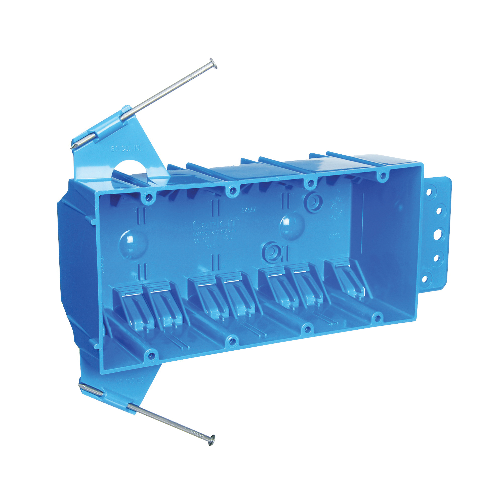 Picture of Carlon B455A-UPC Outlet Box, 4-Gang, PVC, Blue, Bracket Mounting