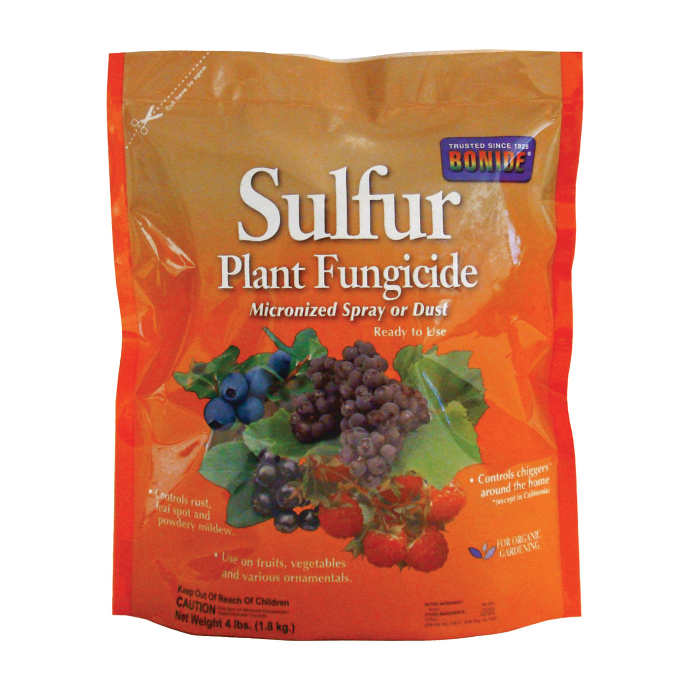 Picture of Bonide 142 Plant Fungicide, Powder, Rotten Egg, Pale Yellow, 4 lb Package, Bag