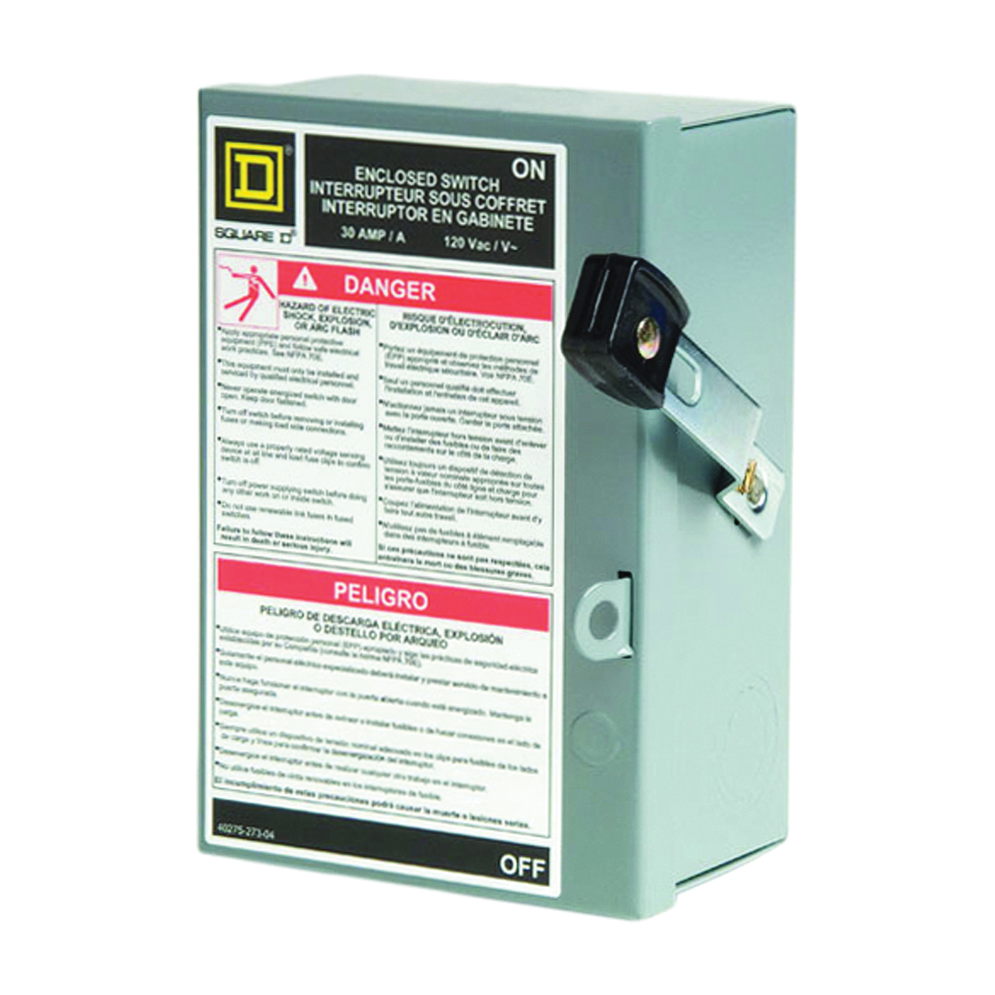 Picture of Square D L111N Safety Switch, 1-Pole, 30 A, 120 V, SPST, Lug Terminal