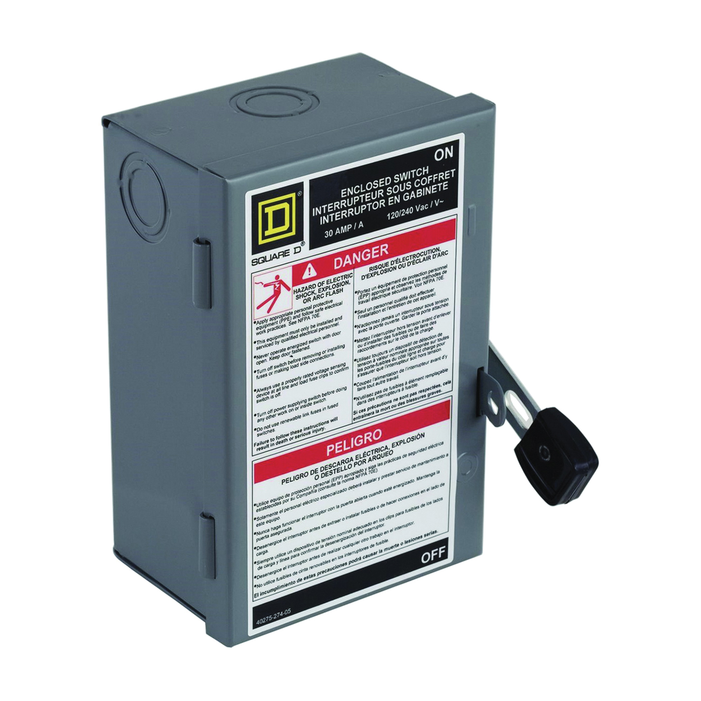 Picture of Square D L211N Safety Switch, 2-Pole, 30 A, 240 V, DPST, Lug Terminal