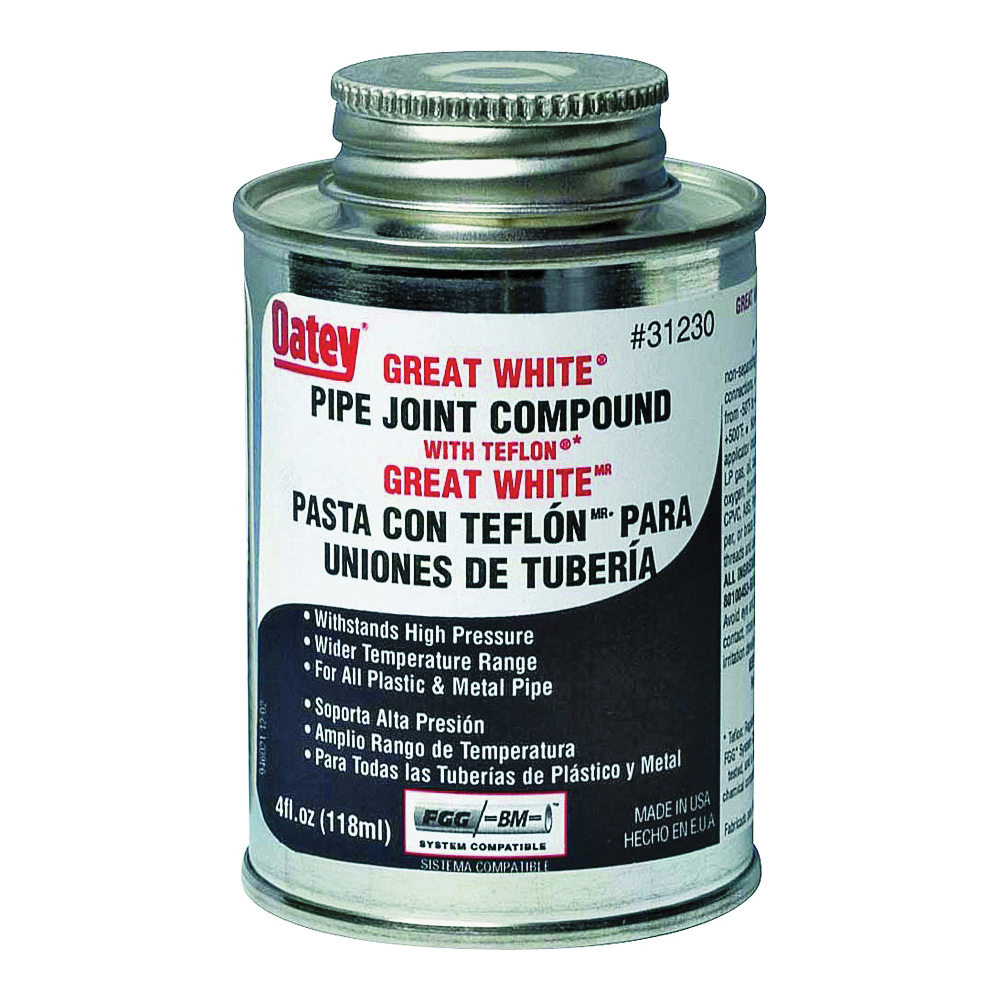 Picture of Oatey Great White 31230 Pipe Joint Compound, 4 oz, Can, Liquid, Paste, White