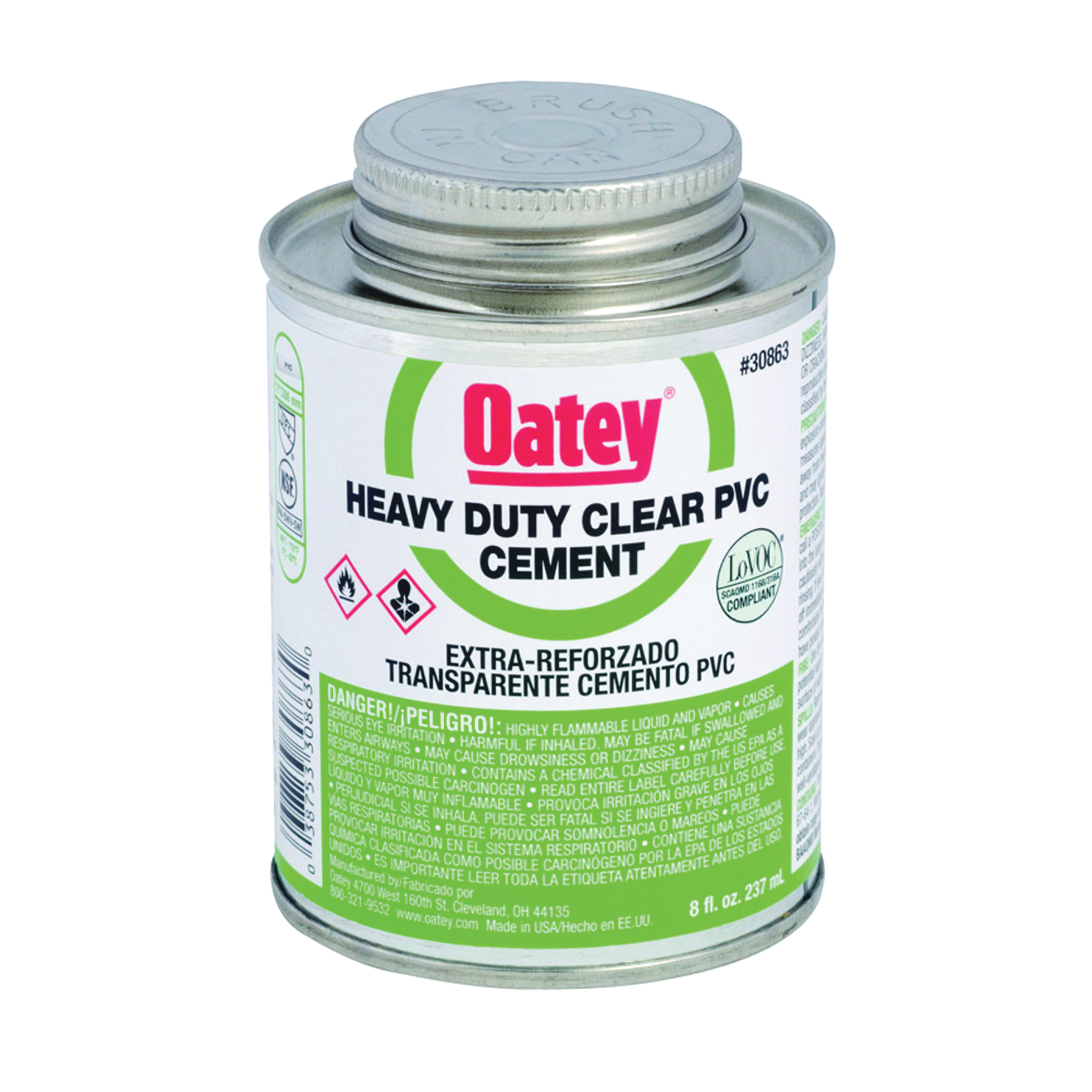 Picture of Oatey 30863 Solvent Cement, 8 oz, Can, Liquid, Clear