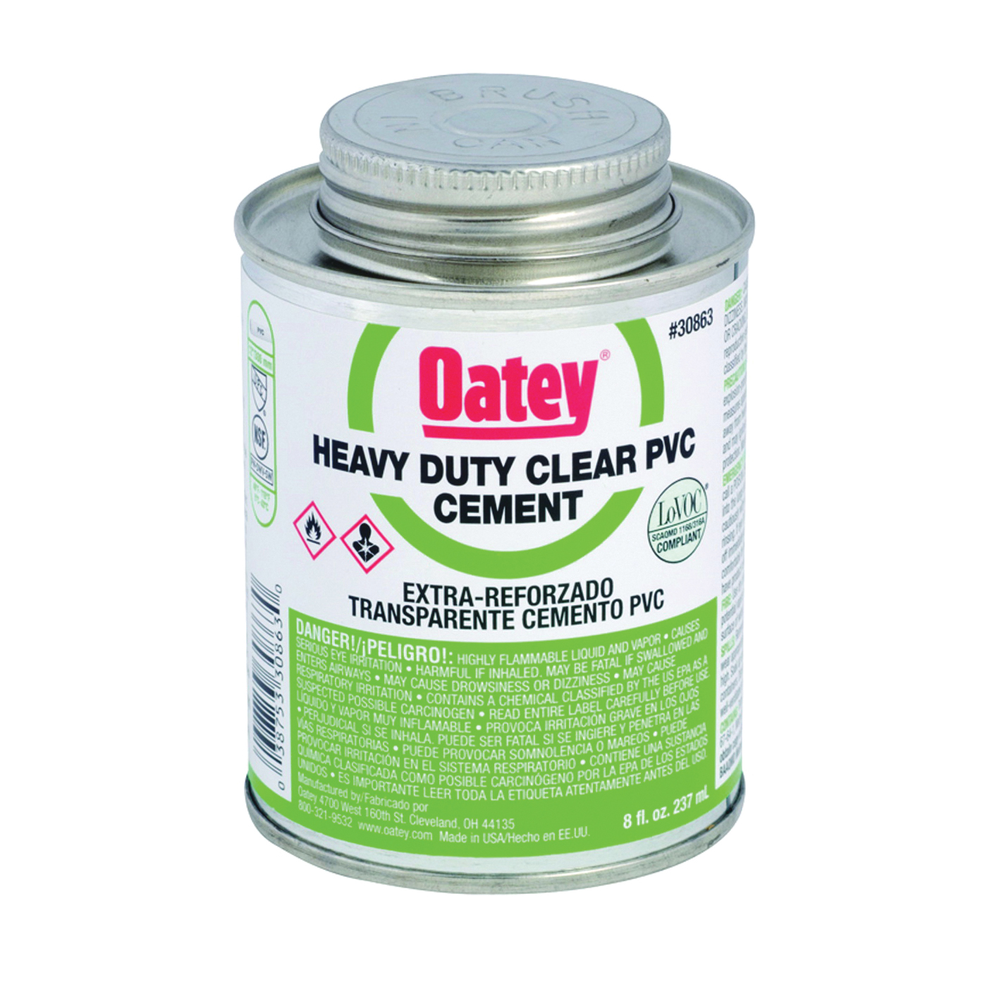 Picture of Oatey 30850 Solvent Cement, 4 oz, Can, Liquid, Clear