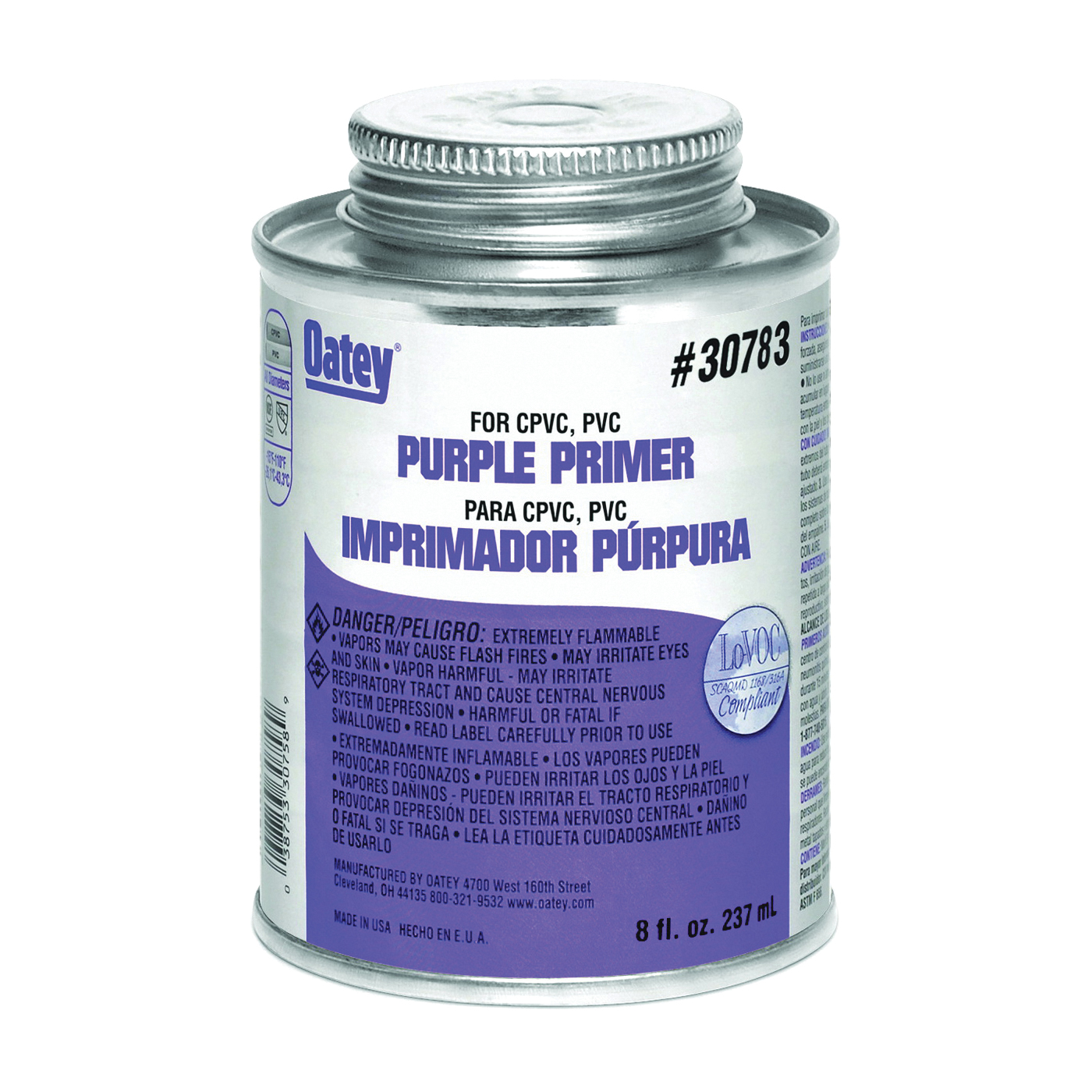 Picture of Oatey 30783 Primer/Cleaner, Liquid, Purple, 8 oz Package, Pail