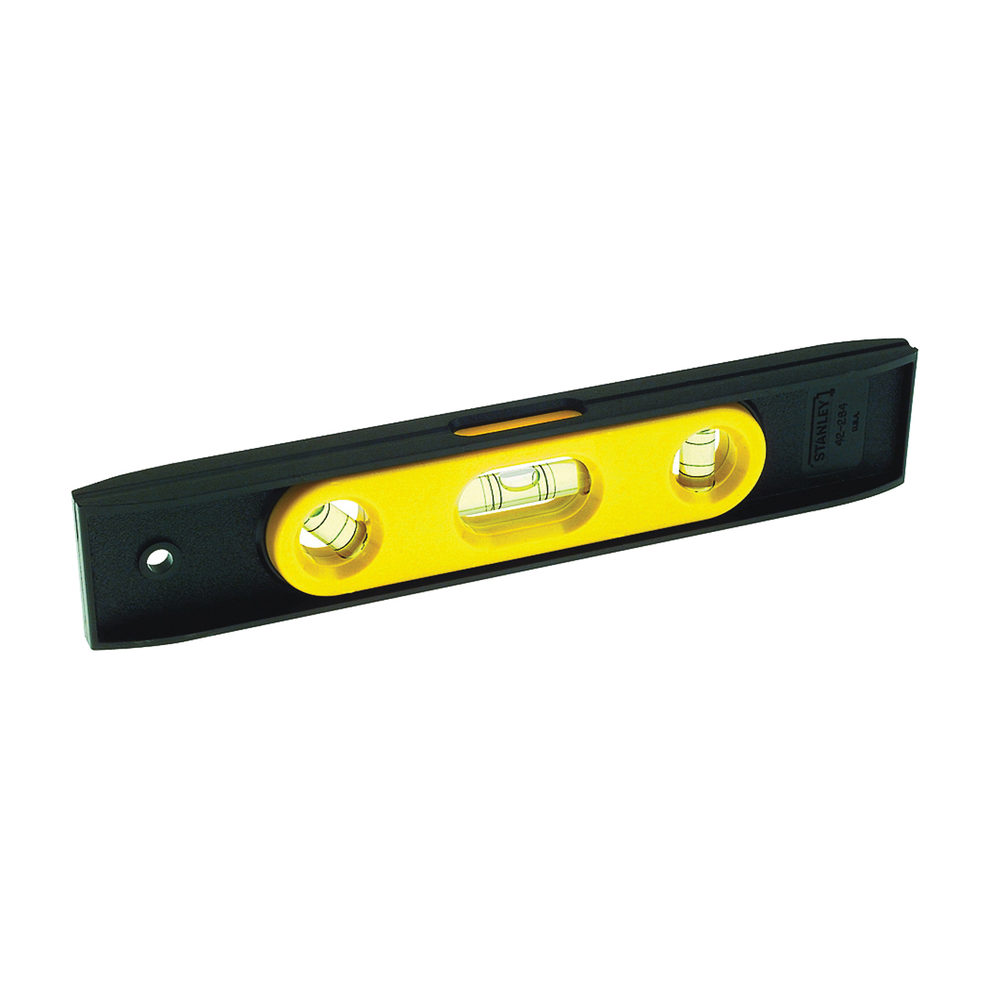Picture of STANLEY 42-264 Torpedo Level, 9 in L, 3 -Vial, 1 -Hang Hole, Magnetic, Plastic, Black