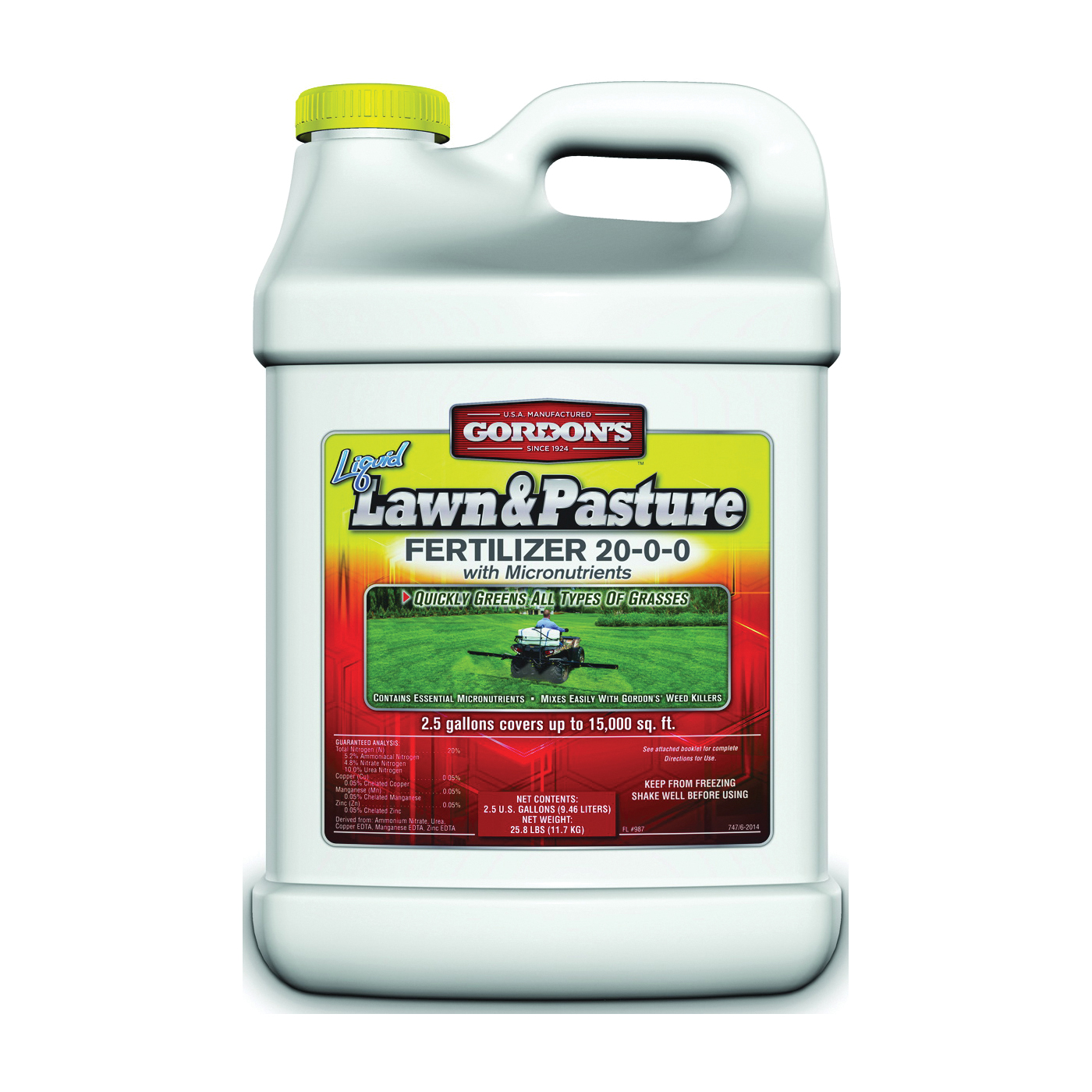 Picture of Gordon's 7471122 Lawn and Pasture Fertilizer, Liquid, Slight Ammonia, Blue, 2.5 gal Package, Can