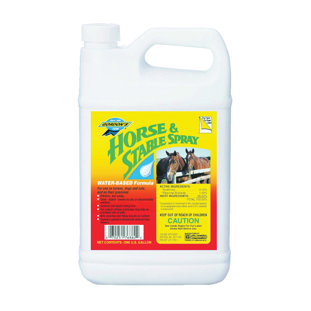 Picture of Gordon's 7681072 Horse and Stable Spray, Liquid, Yellow, Solvent, 1 gal Package