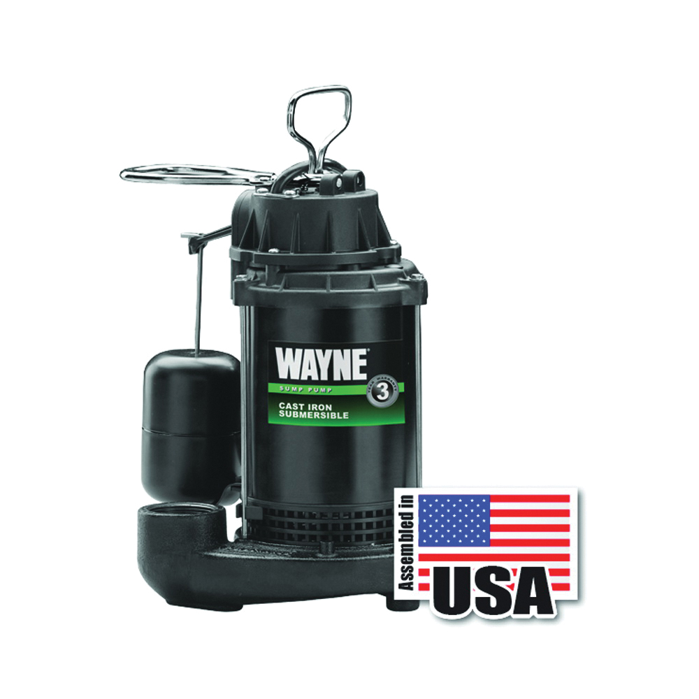 Picture of WAYNE CDU800 Sump Pump, 1-Phase, 10 A, 120 V, 0.5 hp, 1-1/2 in Outlet, 20 ft Max Head, 2040 gph, Iron