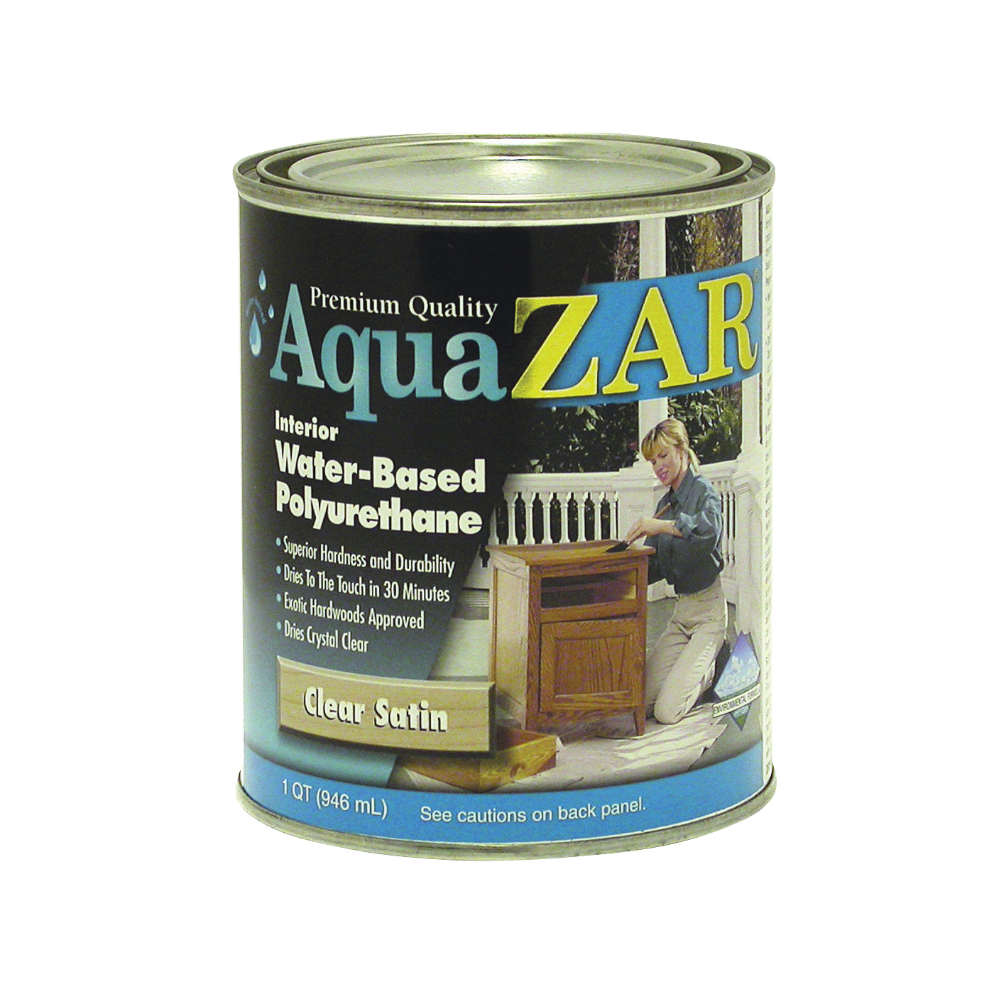Picture of Aqua ZAR 32512 Polyurethane Paint, Liquid, Crystal Clear, 1 qt, Can