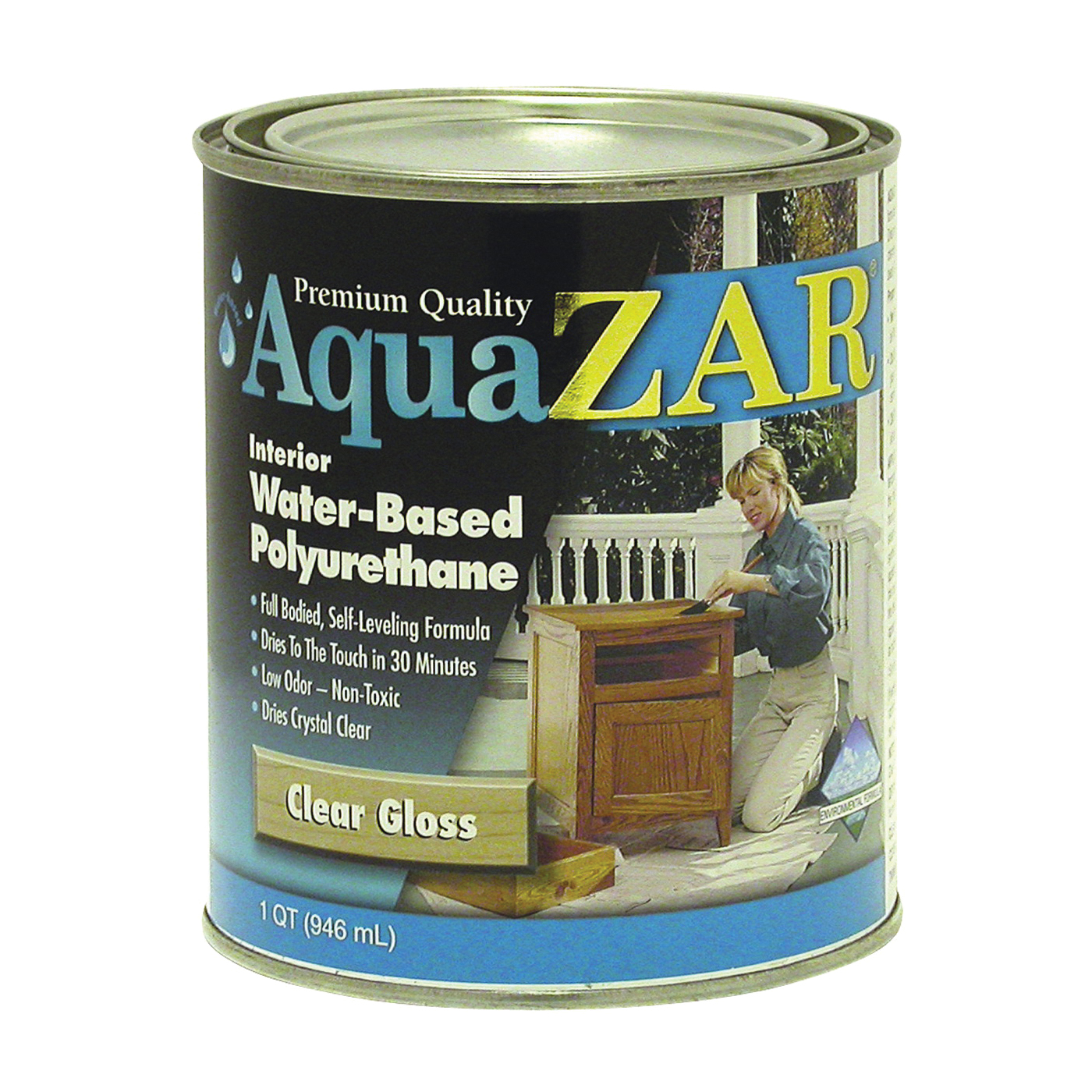 Picture of Aqua ZAR 32412 Polyurethane Paint, Gloss, Liquid, Crystal Clear, 1 qt, Can