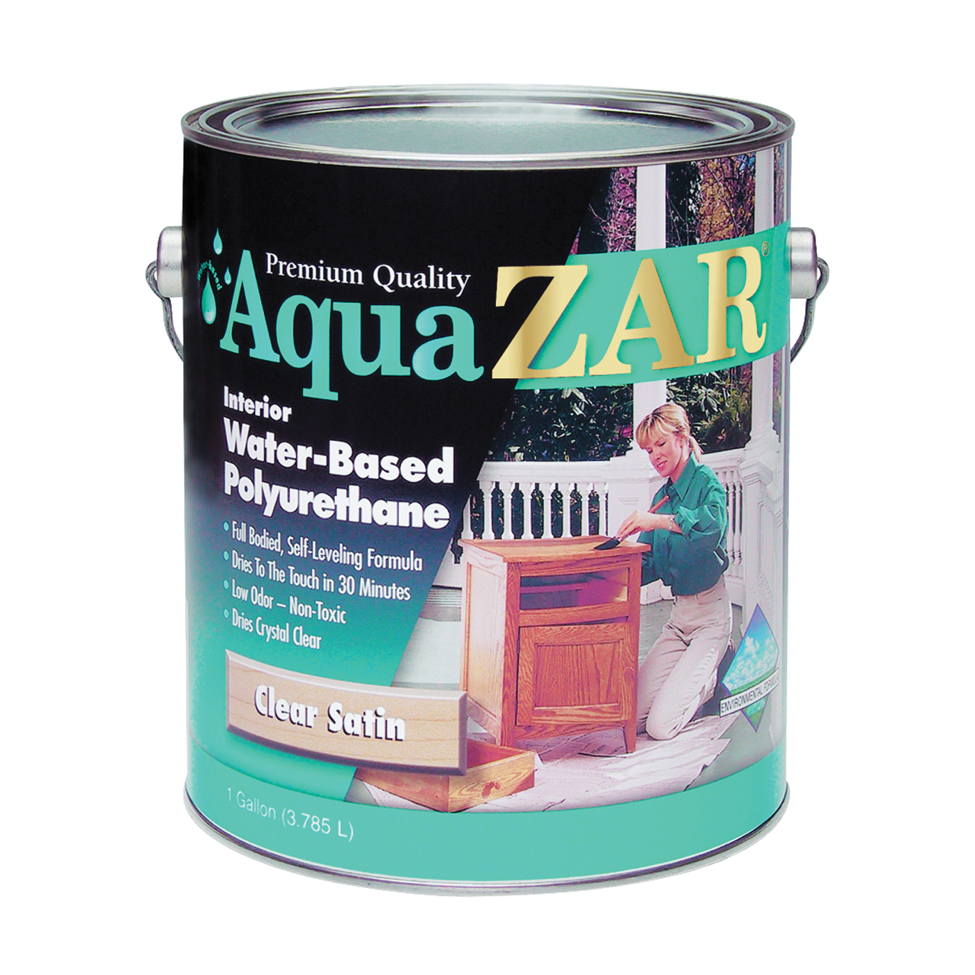 Picture of Aqua ZAR 32413 Polyurethane Paint, Gloss, Liquid, Crystal Clear, 1 gal, Can