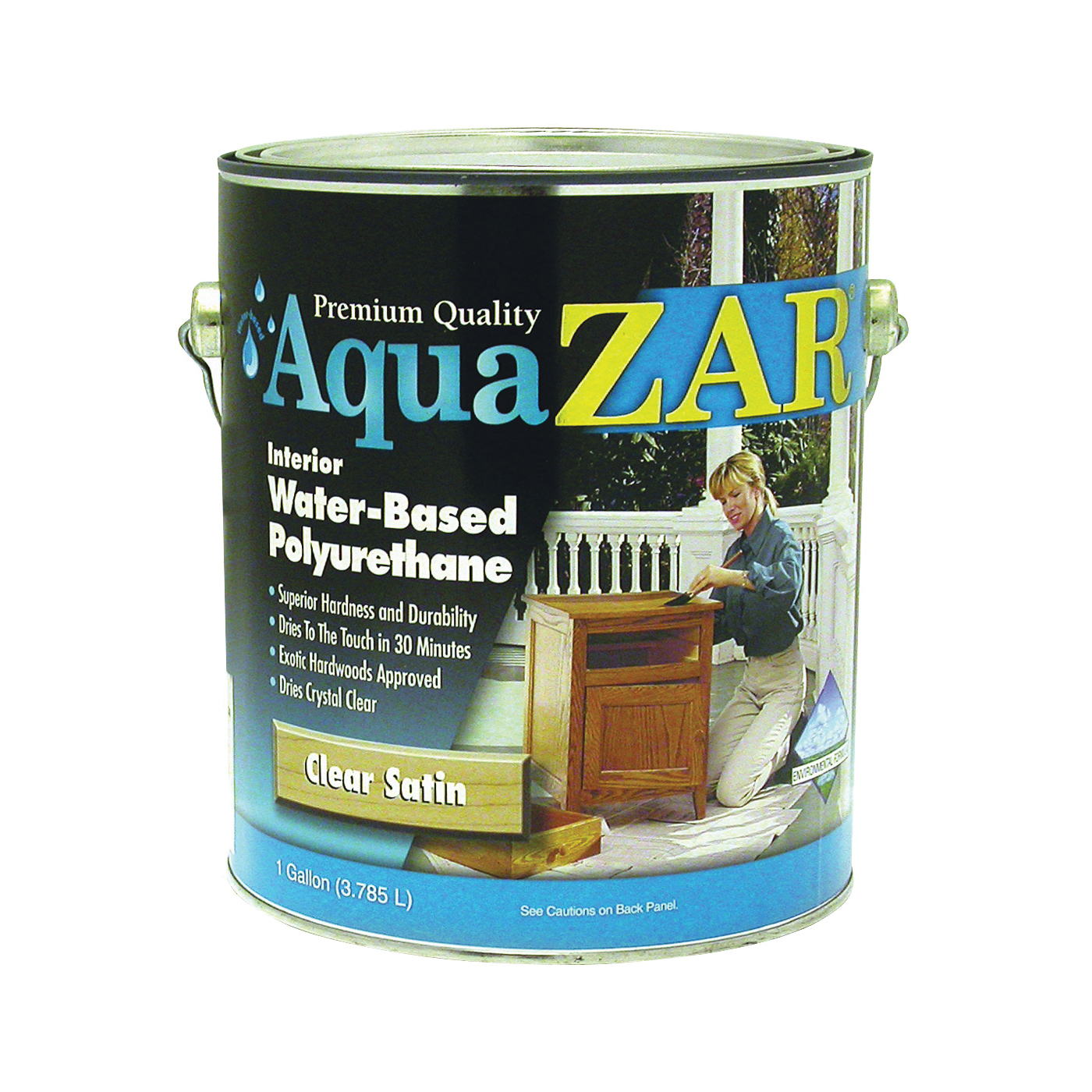 Picture of Aqua ZAR 32513 Polyurethane Paint, Liquid, Crystal Clear, 1 gal, Can