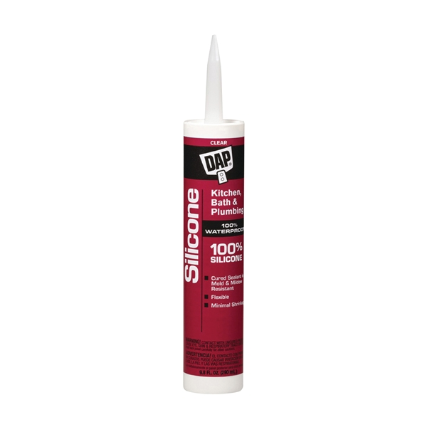 Picture of DAP 08648 Sealant, Clear, 24 hr Curing, -40 to 400 deg F, 10.1 oz Package, Tube