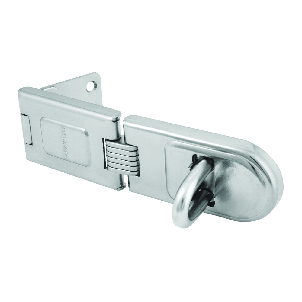 Picture of Master Lock 720DPF Latching Hasp, 6-1/4 in L, 1/2 in W, Steel, Zinc, 7/16 in Dia Shackle