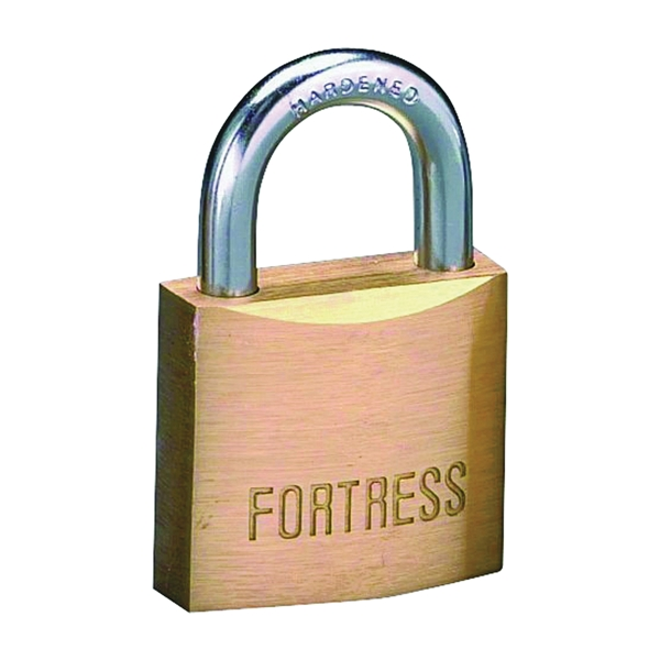 Picture of American Lock Fortress 1840D Padlock, Keyed Different Key, 1/4 in Dia Shackle, Steel Shackle, Solid Brass Body