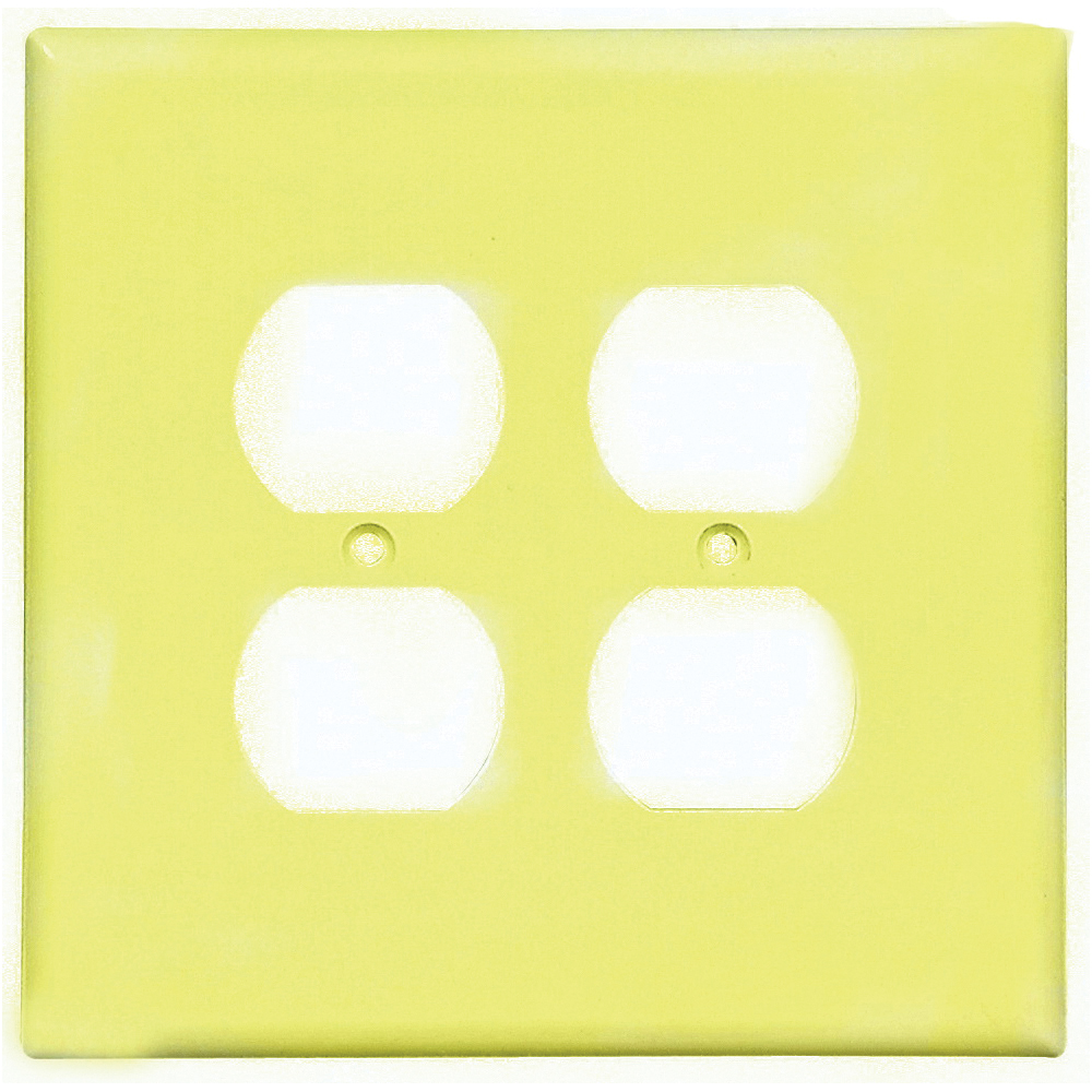 Picture of Eaton Wiring Devices 2750V-BOX Duplex Receptacle Wallplate, 5-1/4 in L, 5-5/16 in W, 2-Gang, Thermoset, Ivory