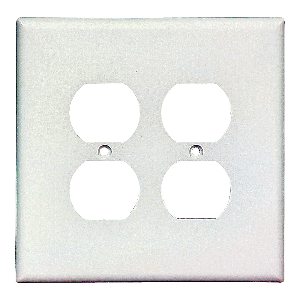 Picture of Eaton Wiring Devices 2750W-BOX Duplex Receptacle Wallplate, 5-1/4 in L, 5-5/16 in W, 2-Gang, Thermoset, White