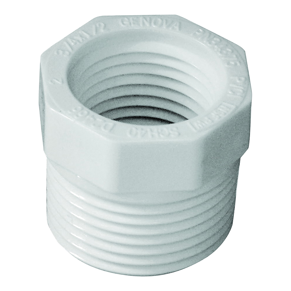 Picture of GENOVA 300 Series 34375 Pipe Reducing Bushing, 3/4 x 1/2 in, MIP x FIP, White, SCH 40 Schedule