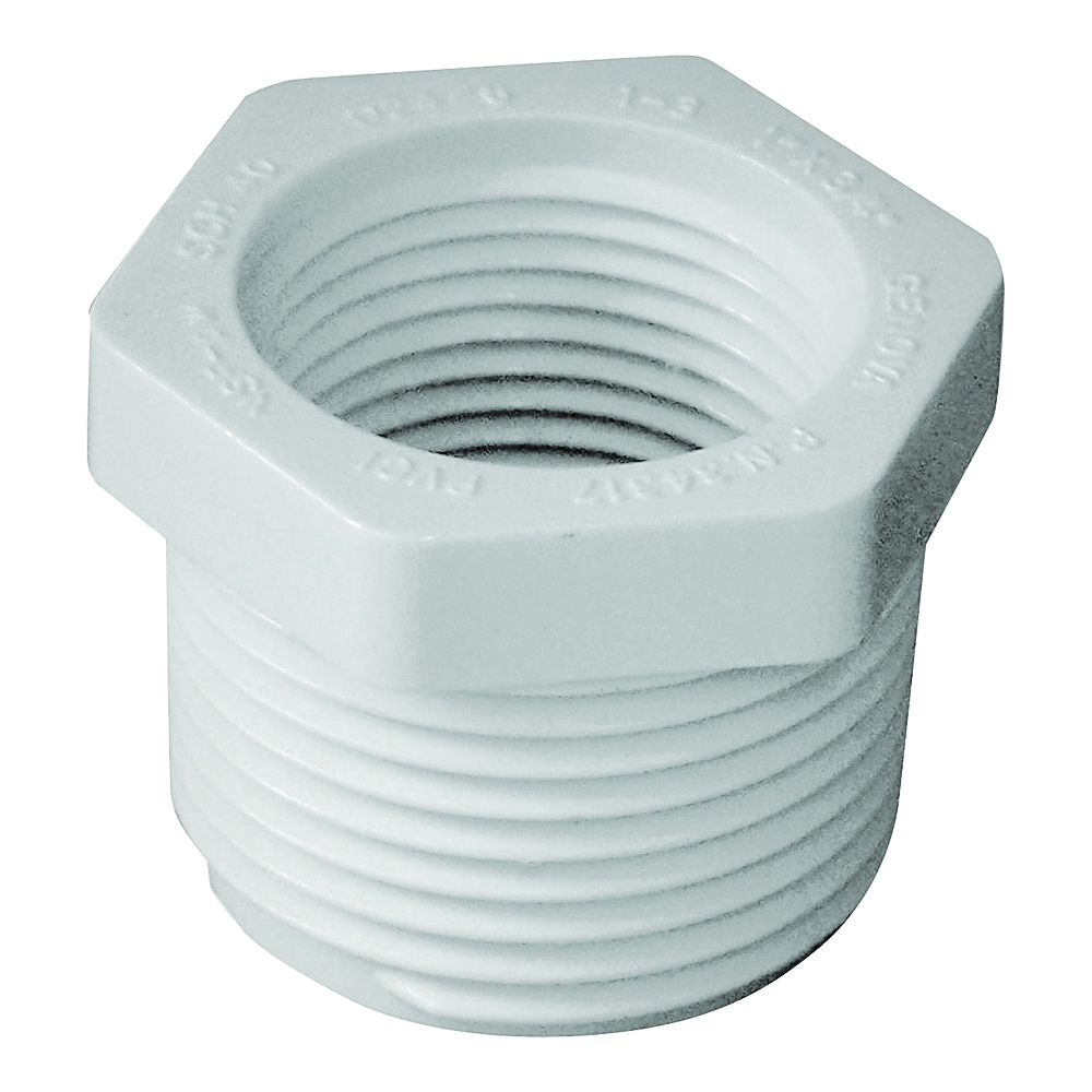 Picture of GENOVA 300 Series 34317 Pipe Reducing Bushing, 1 x 3/4 in, MIP x FIP, White, SCH 40 Schedule
