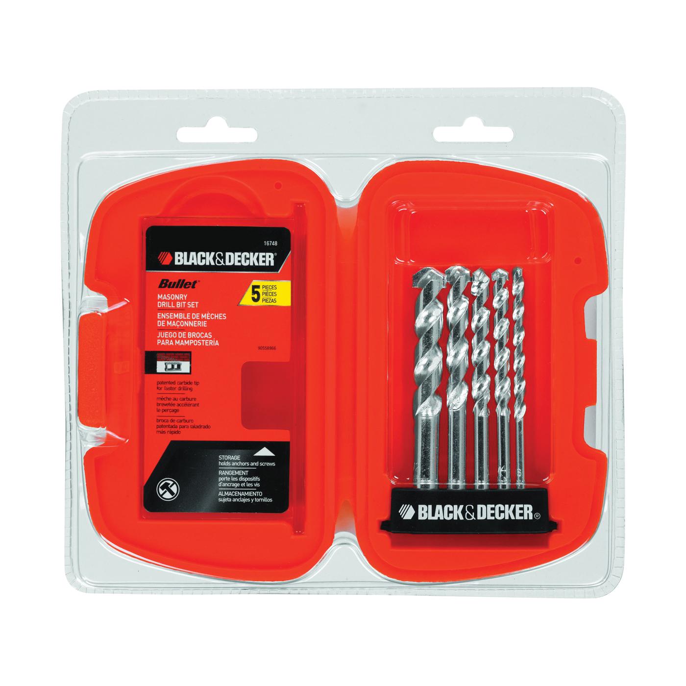 Picture of Black+Decker 16748 Drill Bit Set, Rotary, 5 -Piece, Carbide