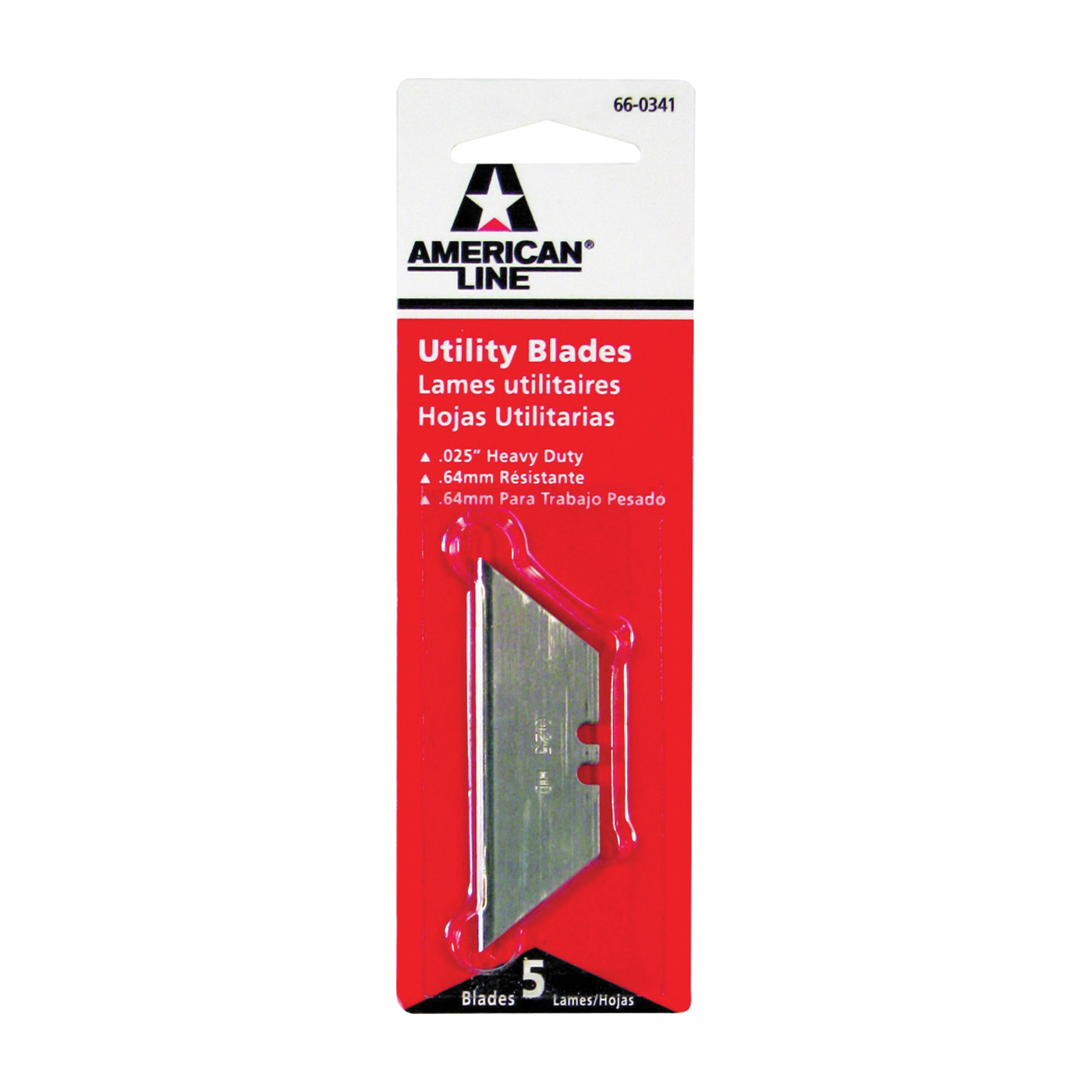 Picture of American LINE 66-0341 Utility Blade, 2.452 in L, HCS, 2-Facet Edge, 500/CS, Carded