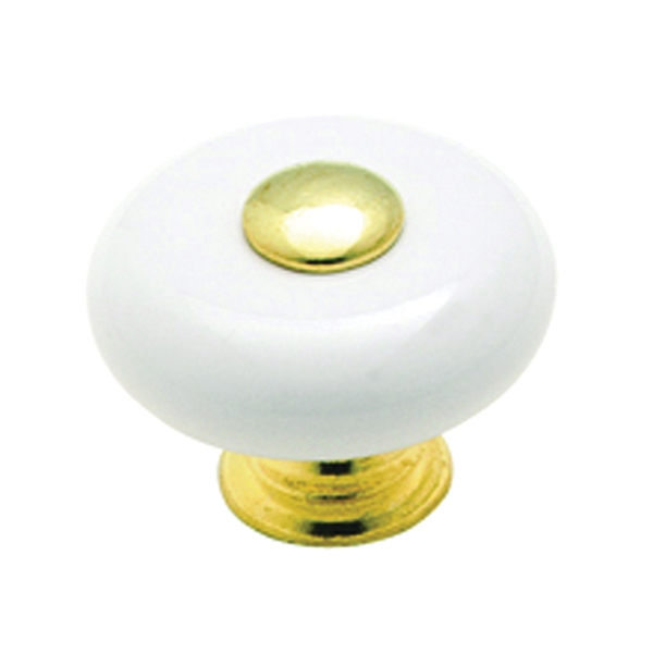Picture of Amerock Allison Value 69228 Cabinet Knob, 1 in Projection, Ceramic, Polished Brass