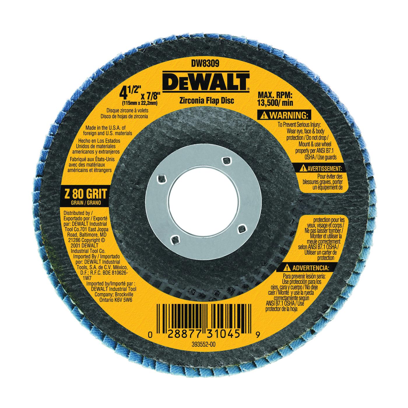 Picture of DeWALT DW8309 Flap Disc, 4-1/2 in Dia, 7/8 in Arbor, Coated, 80 Grit, Zirconia Abrasive, Fiberglass Backing