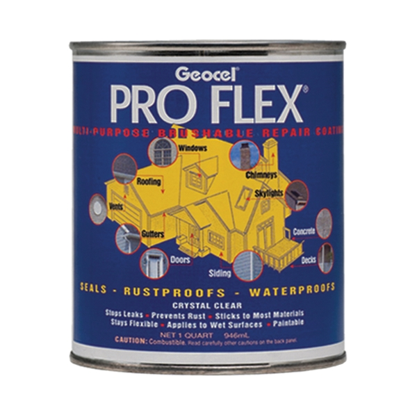 Picture of Geocel Pro Flex 22200 Repair Coating, Crystal Clear, Liquid, 1 qt Package, Can