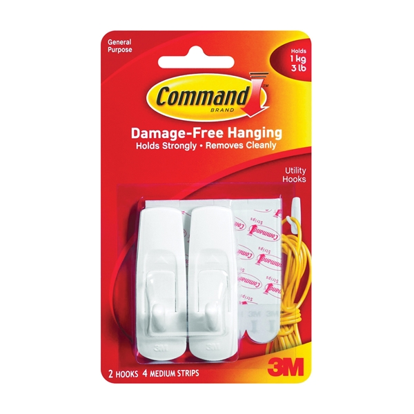 Picture of Command 17001 Utility Hook, 3 lb, 2-Hook, Plastic, White, 6, Pack