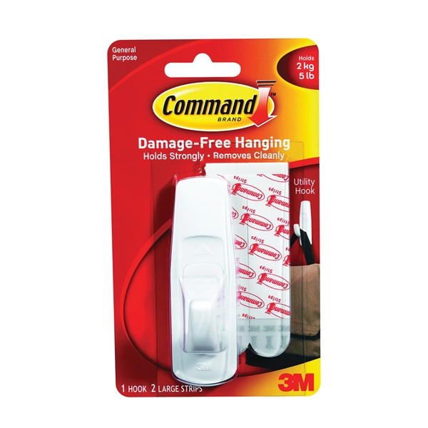 Picture of Command 17003 Utility Hook, 7/8 in Opening, 5 lb, 1-Hook, Plastic, White, 3, Pack