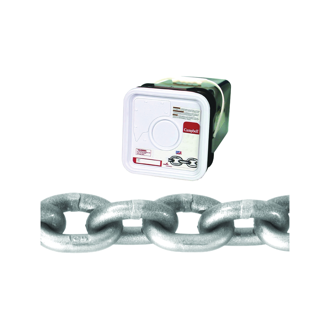 Picture of Campbell 0184416 High-Test Chain, 1/4 in Trade, 100 ft L, 2600 lb Working Load, 43 Grade, Carbon Steel, Bright