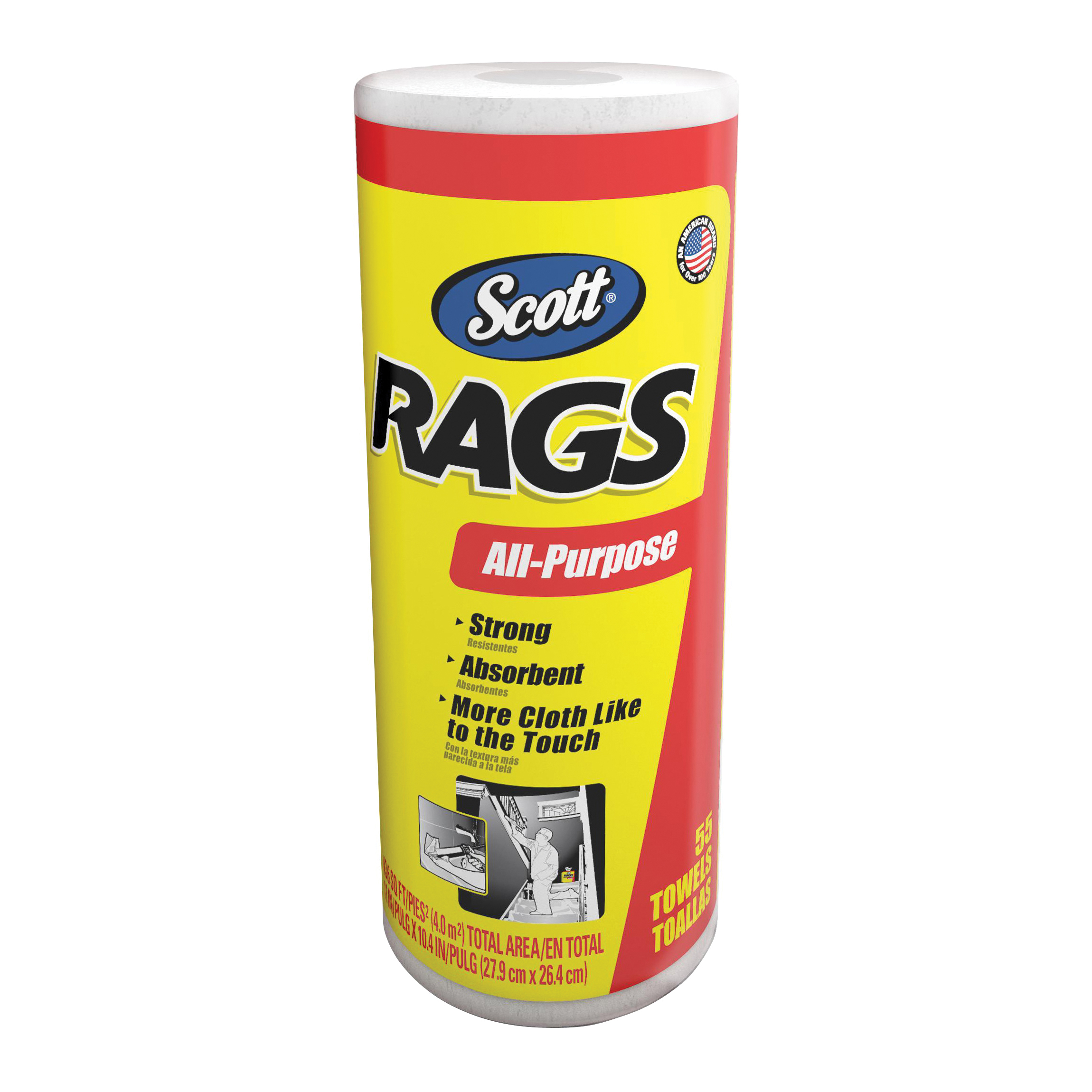 Picture of Scotts 75230 Painter's Rag, 10.4 x 11 in, Cellulose Fiber, White, Roll