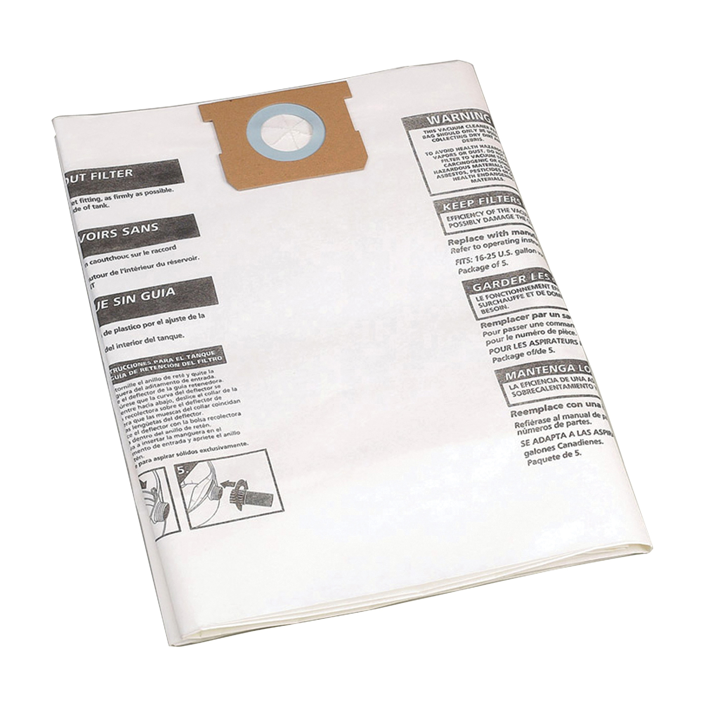Picture of Shop-Vac 9066300 Filter Bag, 15 to 22 gal Capacity