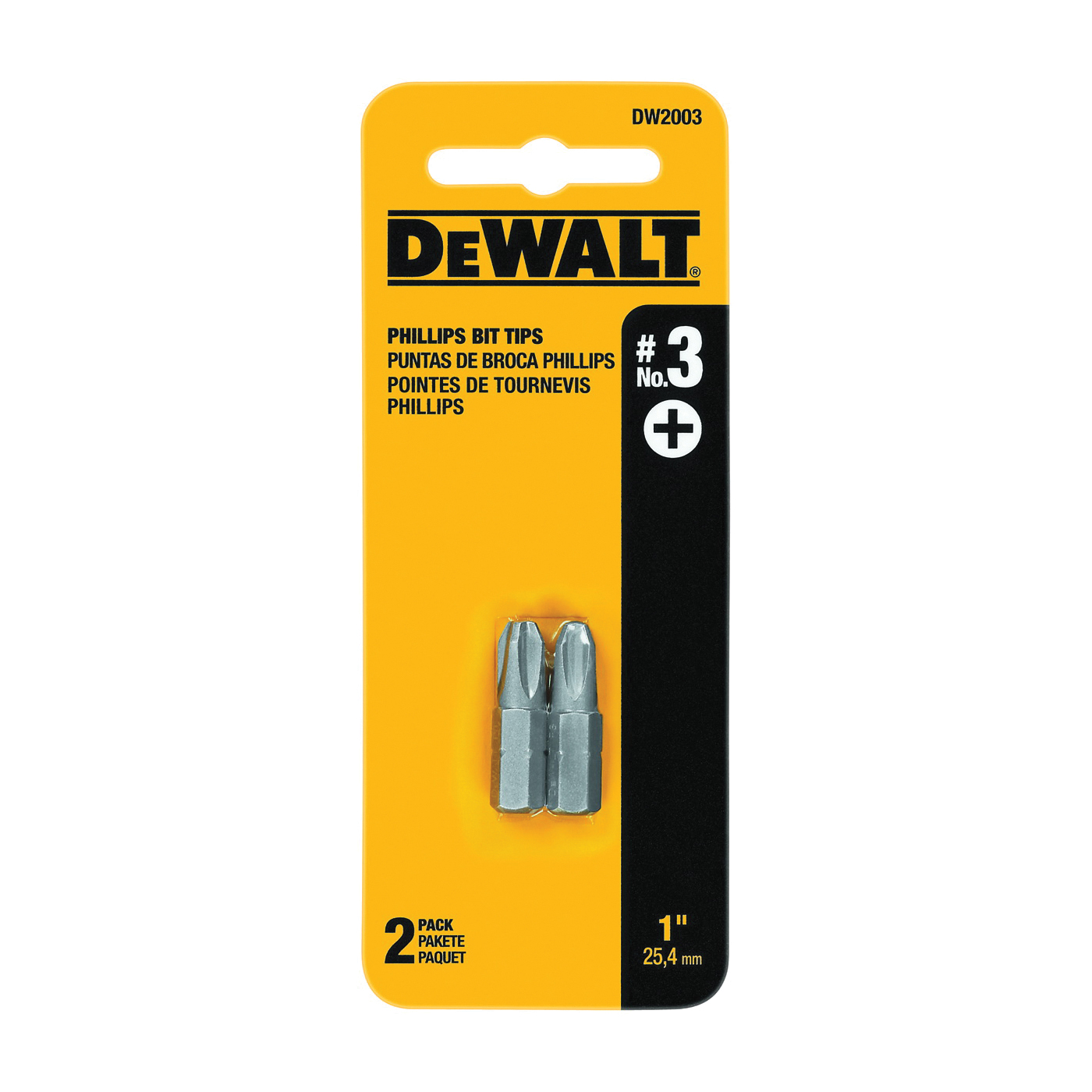 Picture of DeWALT DW2003 Insert Bit Tip, #3 Drive, Phillips Drive, 1/4 in Shank, Hex Shank, 1 in L, Tool Steel