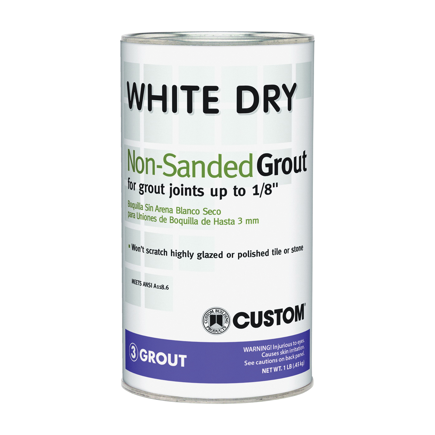 Picture of CUSTOM WDG1-6 Polymer-Modified Grout, Powder, Characteristic, White, 1 lb Package, Can