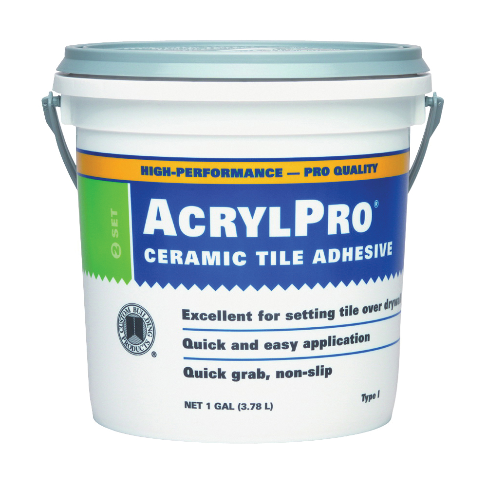 Picture of CUSTOM ARL40001-2 Ceramic Tile Adhesive, White, 1 gal Package, Pail