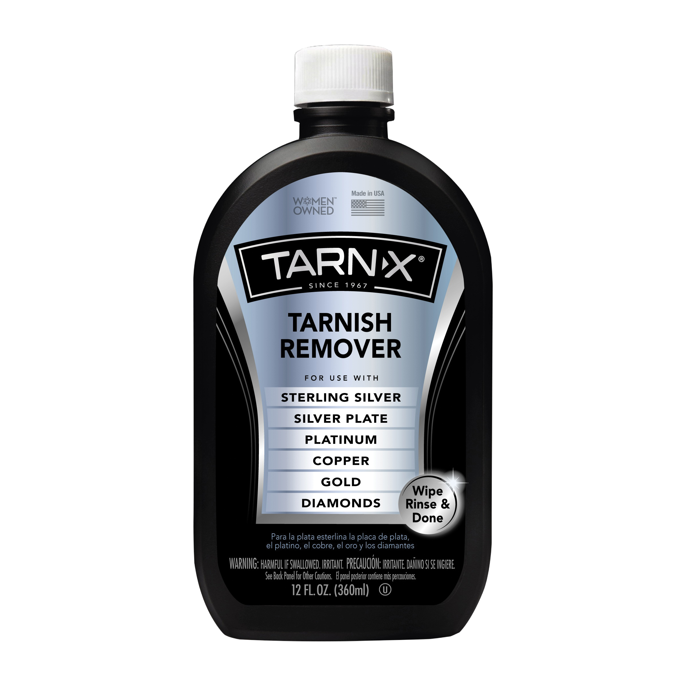 Picture of Tarn-X TX-6 Tarnish Remover, 12 oz Package, Bottle, Liquid, Slightly Acidic, Crystal Water White