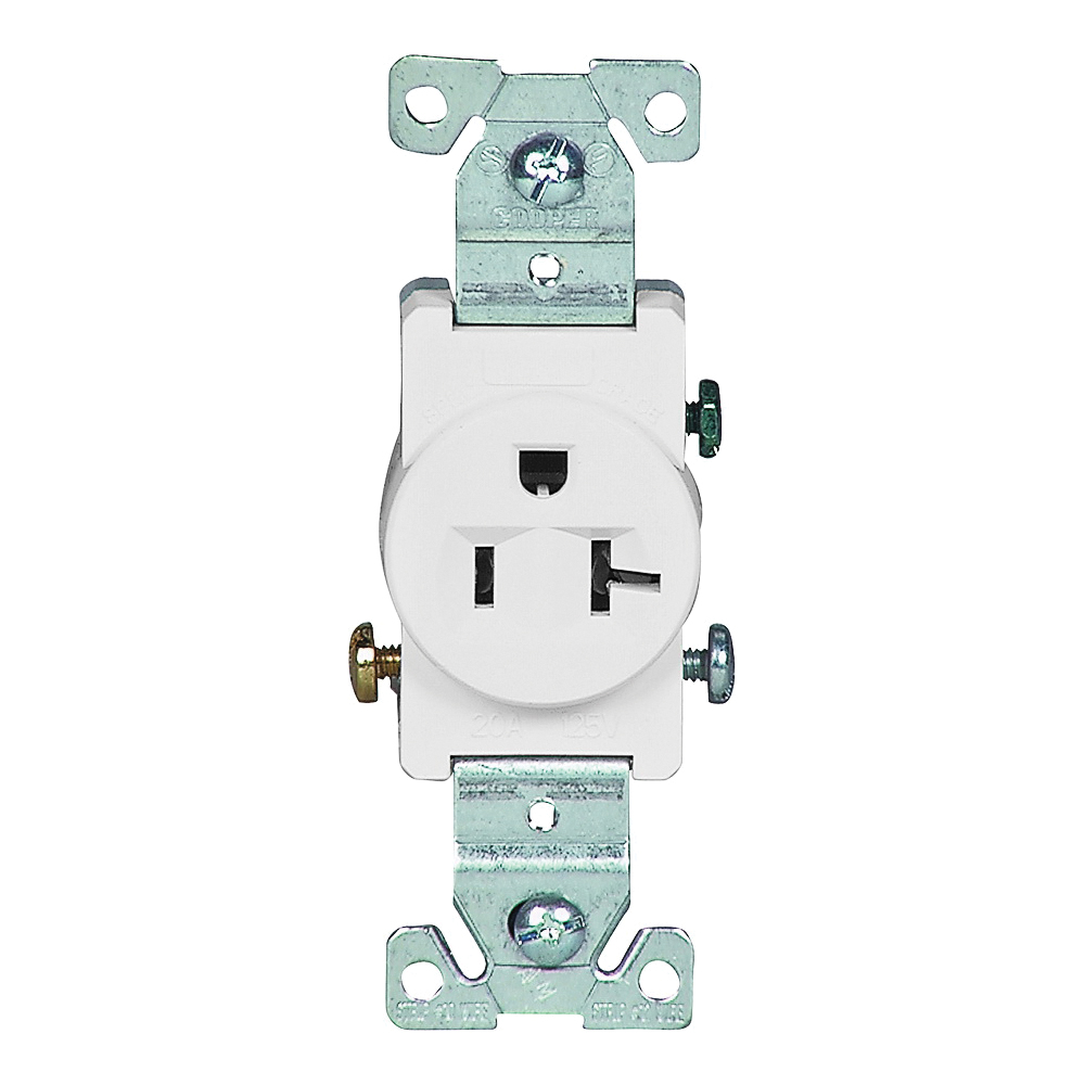 Picture of Eaton Wiring Devices 1877W-BOX Single Receptacle, 2-Pole, 125 V, 20 A, Side Wiring, NEMA 5-20R, White