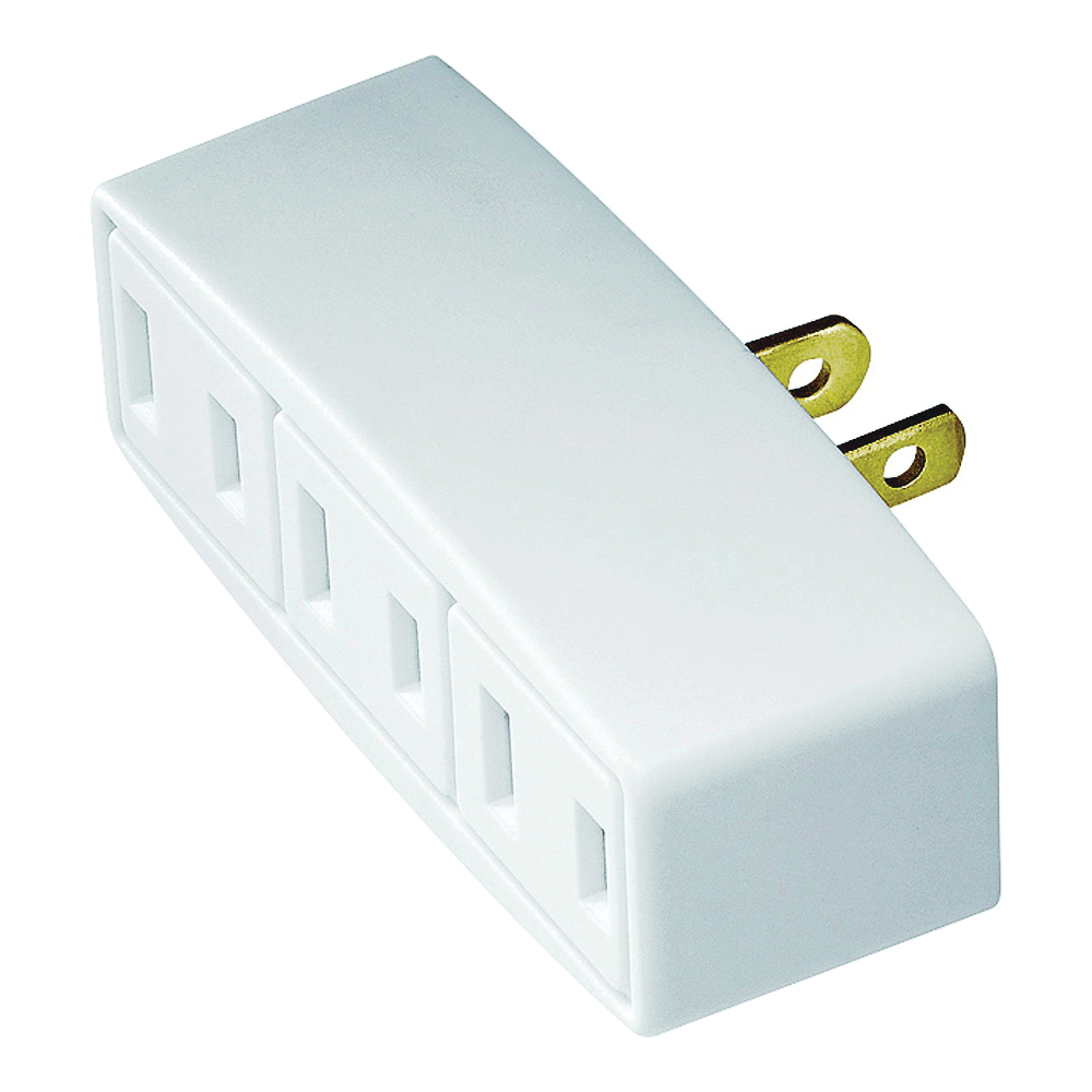 Picture of Eaton Wiring Devices 1747W-BOX Outlet Adapter, 2-Pole, 15 A, 125 V, 3-Outlet, NEMA: 1-15R, White